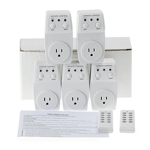 Generic 5 Pack Wireless Remote Control Power Outlet Plug Light Switch Socket 2 Remotes – White(US Plug)