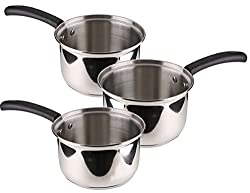 Pristine Tri Ply Induction Base Cooking Essential St. Steel Sauce Pan Set, 3PCS, Silver