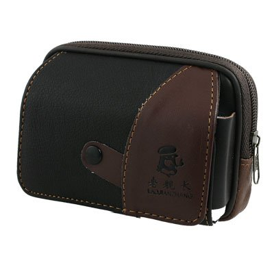 Horizontal Magnetic Closure Phone Holder Brown Faux Leather Zippered Waist Pack