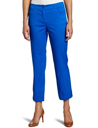 Jones New York Women's Petite Stretch Twill Slim Leg Crop Pant, Princess Blue, 10P