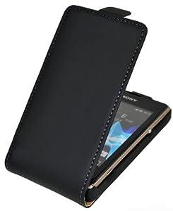 Premium Flip-Style Tasche für - Sony Xperia E - Handytasche Etui Hülle Schutzhülle Ledertasche (Spezielle Anfertigung) (Aktionspreis UVP 12.90) in schwarz