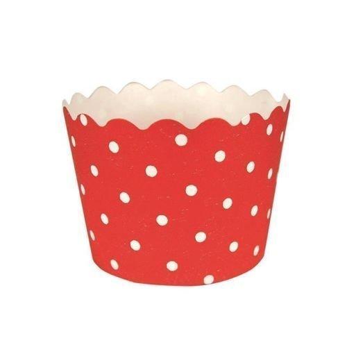 Rojo clásico de lunares de la torta/tazas de la hornada del mollete x 12