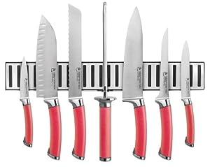 Ginsu Shoku Stainless Steel Cultlery Set with Crimson Colored Handle