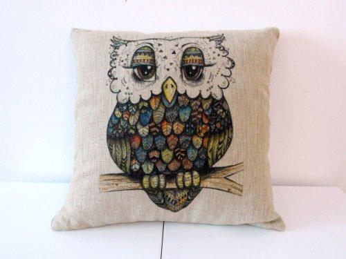 "Decorbox Cotton Linen Square Throw Pillow Case Decorative Cushion Cover Pillowcase For Sofa Cute Cartoon Color Owl 18 ""X18 "" front-915377"