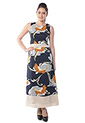 iamme Bird printed A-line long dress with round neck and sleeveless