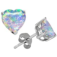 Original Star K (tm) 7mm Heart Shape Created Opal Earring Studs in .925 Sterling Silver