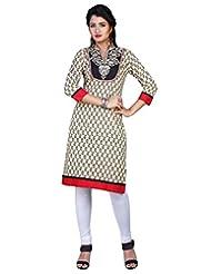 Sareeshut Cream Color Cotton Fabric Readymade Printed Kurti - B00QRWJH1I