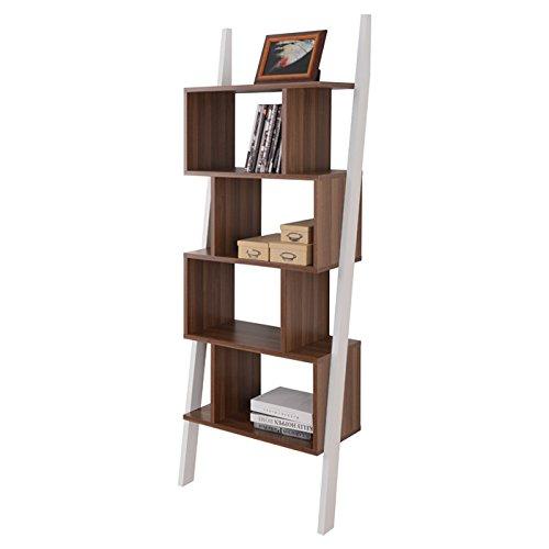 "NEW Walnut/White Modern Bookcase Mateo 71"" Ladder Bookcase 5 Shelves"