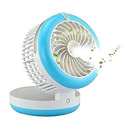 Geelyda Table Fan Portable Mini Misting Fan Humidifier USB Fan Cooling Mist Fan Rechargeable Humidifier Personal Fan Desktop Fan with Built-in Battery (Blue)
