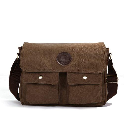 Eshow Men's Retro Canvas Cross Body Messenger Bag, Brown