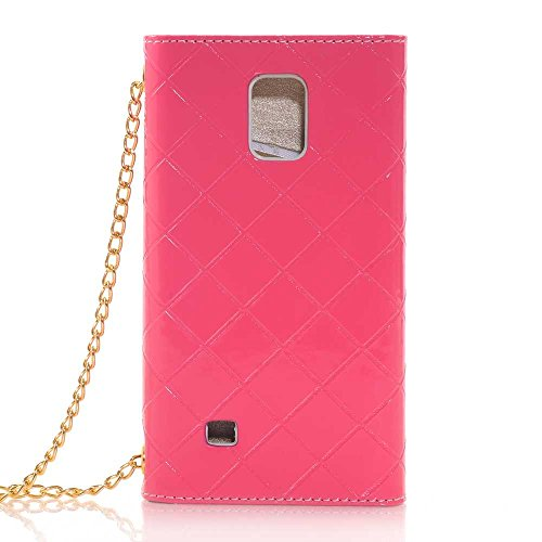 Nancy'S Shop Hand Bag Case Cover For Samsung Galaxy Note Iv Luxury Bow Fashion Wallet Flip Feature With Card Slots/Holder&Strap Pu Leather Hand Bag Case Cover For Samsung Galaxy Note 4 (Hand Bag Hot Pink Nancy'S Shop Case)
