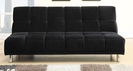 Plush Black Microfiber Adjustable Sofa by Poundex