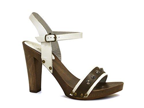 Sandali tacco legno alto in pelle di vitello bianco - Codice modello: 100 BIANCO - Taglia: 37 IT