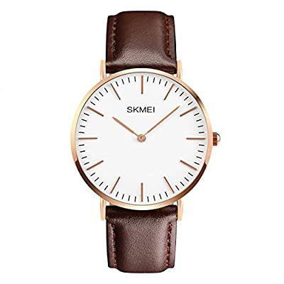 CakCity Men's Casual Classic Stainless Steel Quartz Analog Wrist Business Watch With 40mm Case, Replaceable Brown Leather Band