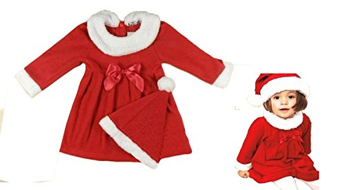 Baby Toddler Girl Santa Costume Red & White Dress and Hat, 2-pc Set (12-18 Months)