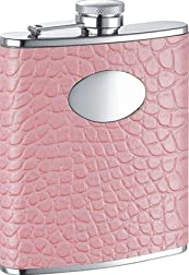 Annabella Light Pink Synthetic Leather 6oz Flask - VF1179