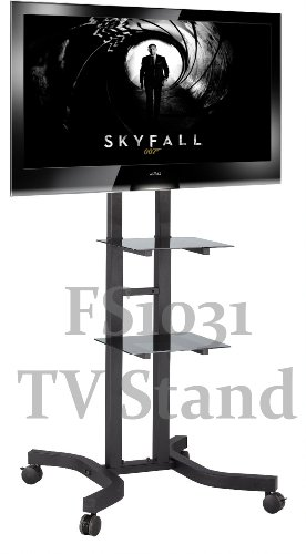 FS1031 Exhibition Display Stand TV Trolley Floor Stand w/ Mounting Bracket for LCD/Plasma TVs & Two Black Glass... Black Friday & Cyber Monday 2014
