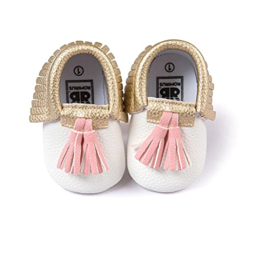 Voberry Infant Toddlers Baby Boys Girls Soft Soled Tassel Crib Shoes PU Moccasins (0~6 Month, white 1)