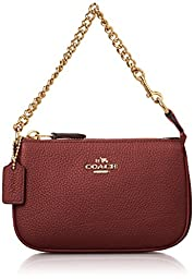 COACH Women\'s Polished Pebble Nolita Wristlet 14 LI/Black Cherry Clutch