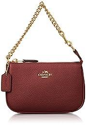 COACH Women\'s Polished Pebble Nolita Wristlet 14 LI/Black Cherry Clutch