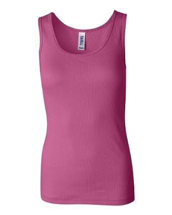 Bella Ladies Combed Ringspun Cotton 2x1 Rib Tank Top - Very Pink - Small