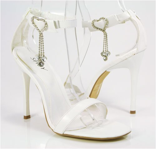 Jeweled Hearts White Wedding Stiletto Heels Sandal Anklet