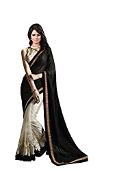 OMKAR CLUB Cream And Black Net Saree With Embroidery Work