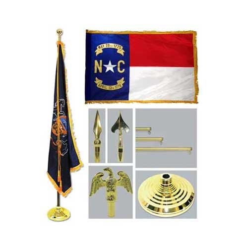 North Carolina 4Ft X 6Ft Flag Telescoping Flagpole Base And Tassel