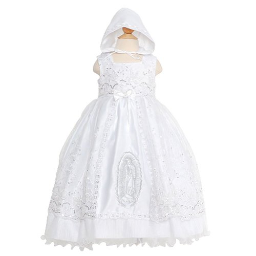 Rain Kids Baby Girls 6M White Mary Silver Embroidered Baptism Dress front-222354