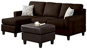Amazon Com Acme Vogue Reversible Sectional Chaise Chocolate