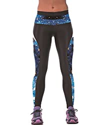 iSweven blue lightening Design Printed Polyester Multicolor Yoga pant Tight legging for womens girls
