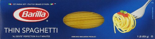 Barilla Thin Spaghetti Pasta, 16 Ounce (Pack of 20) (Barilla Thin Spaghetti compare prices)