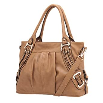 Melie Bianco Emma Braided Side Handbag (Tan)