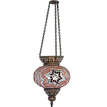 Pendant Lamp Turkish Lamps Mosaic Glass Lights Red Ceiling Light Morocca