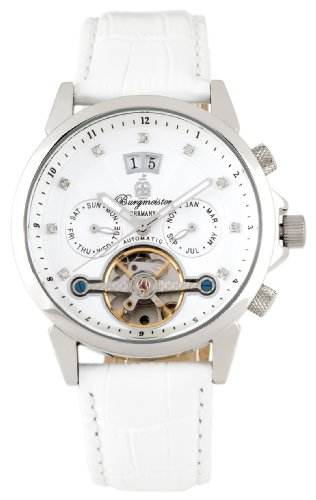 Burgmeister Ladies Imperia Automatic Analogue Wrist Watch BM141-186 With Stainless Steel Balance-Wheel White Dial And White Leather Strap