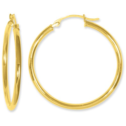 10T914 =10k Yellow Gold 2x31mm Round Hoop Earrings