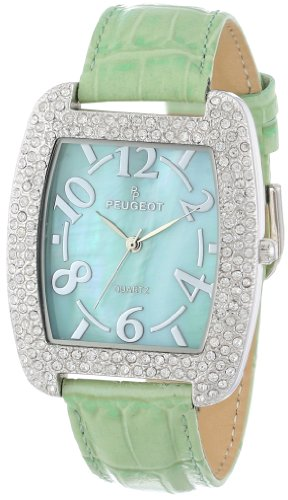 Peugeot Women's 342MT Silver-Tone Swarovski Crystal Accented Mint Leather Strap Watch