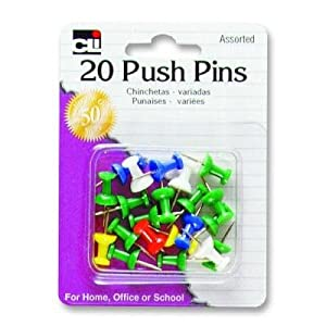 Charles Leonard Inc., Pins - Push  - Assorted Colors - 20/Card, 20200