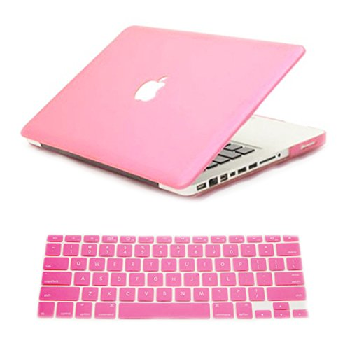 Dealgadgets Frosted Matte Surface Crystal Hard Shell Case For Macbook Pro 13.3-Inch A1278 Aluminum Unibody With Silicone Keyboard Cover Skin Stickers Protector Pink (Not Compatible With: Macbook 13.3 Inch With Retina Display)