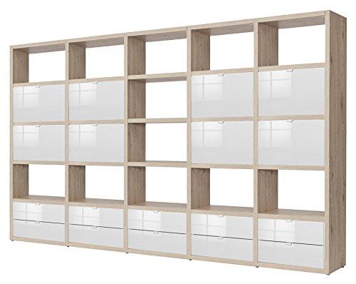 Ufficio e soggiorno parete libreria componibile in rovere e laccato bianco