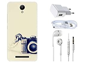 Spygen XIAOMI Redmi Note 2 Case Combo of Premium Quality Designer Printed 3D Lightweight Slim Matte Finish Hard Case Back Cover + Charger Adapter + High Speed Data Cable + Premium Quality Handfree