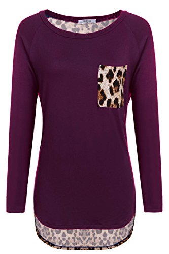Meaneor Women's Leopard Printed Long Sleeve Loose T-shirt Blouse Tops Wine Red XXL
