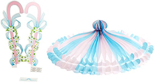 Tissue Parasol (pink & lt blue) Party Accessory  (1 count) (1/Pkg)