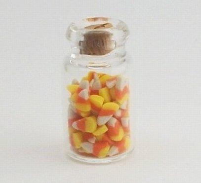 1:12 Jar of Candy Corn Halloween - Dollhouse Miniature Scale Food (Miniature Corn compare prices)