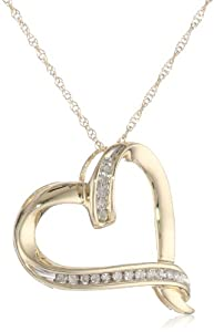 10k Yellow Gold Diamond Abstract Heart Pendant Necklace (1/20 cttw, I-J Color, I2-I3 Clarity), 18