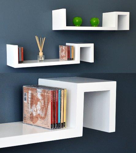 2er Set Lounge Regal Design Retro CD Wandregal Hängeregal in Weiß- auch als Nachttisch oder Beistelltisch