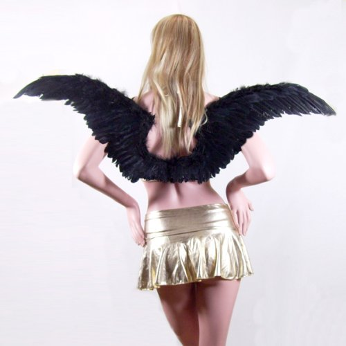 SACAS Large Black Feather Angel Wings for Women, Men, Adult, Teens with Free Halo