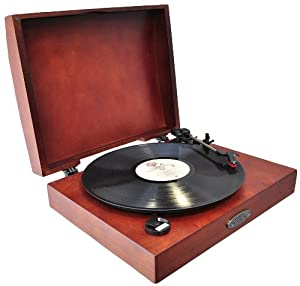 Pyle Home PVNTT1R Classic Retro USB Phonograph/Turntable with Aux-Input Jack (Mahogany)