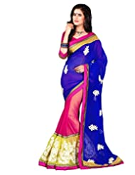 Texclusive Women's Georgette Saree With Blouse Piece (Blue & Pink)