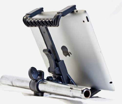 Ishot Pro® Mounts -- The New Ipad - Ipad 2 - Ipad 3 - Ipad 4 - Ipad Air - Universal Tablet Complete Microphone Music Stand Adapter Mount - Shopping Cart Bicycle Wheelchair Golf Push Cart Exercise Elliptical Machine Mount - With Device Clip & Works With Mo